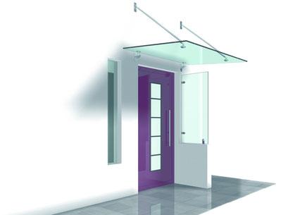Glasvordach mit seitlichem aufgesetzem Windschutz