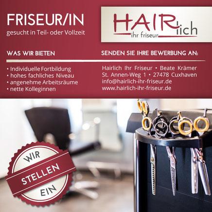 Hairlich Ihr Friseur Cuxhaven Altenbruch - Stellenangebot - Stellengesuch - Friseur Friseurin gesucht