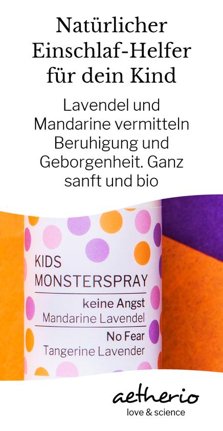 Dieses Kids #Monsterspray zum Bestellen unterstützt Kinder beim Einschlafen, Durchschlafen uns Weg ins Bett. Lavendel und Mandarine verjagen Monster und wirken wunderbar beruhigend. Mit love & science von aetherio.de #einschlafen #familienbett #lavendel