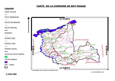 Plan de localisation de la Commune de Bot-Makak