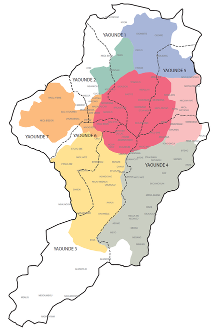 Yaoundé. Carte administrative et présentation des quartiers