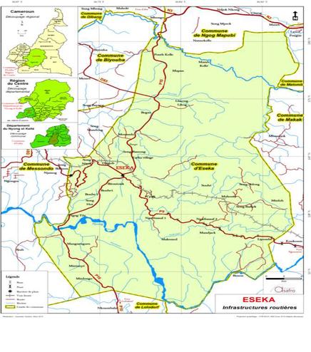 Plan de localisation de la Commune d'Eseka