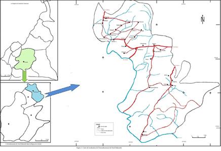 Carte de la Commune de Ndobian dans le Nkam, Région du Littoral, Cameroun