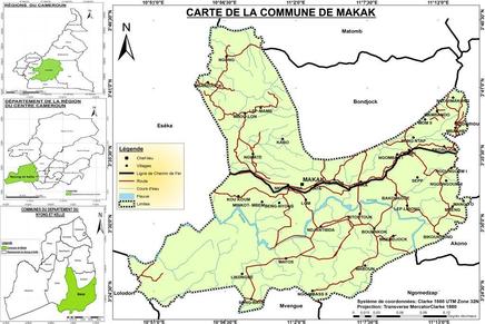 Plan de localisation de la Commune de Makak