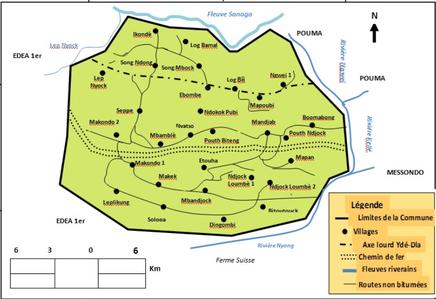Plan  de localisation de la Commune de Ngwei