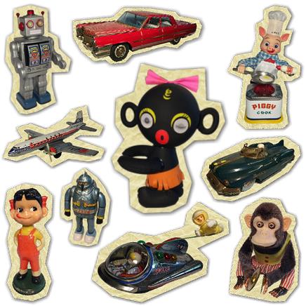 ダッコちゃん、ペコちゃん、鉄人28号など、懐かしのおもちゃがいっぱい!