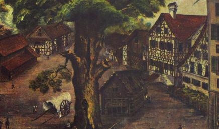 der heutige Marktplatz um 1860; am rechten Bildrand nochmals das erste Schulhaus, links hinten das Spital
