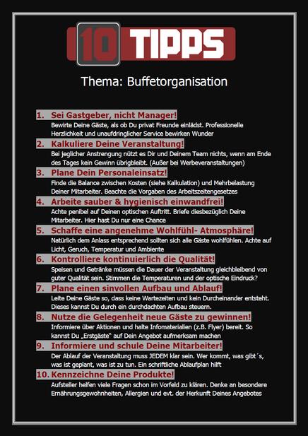 Tipps für Buffetorganisation