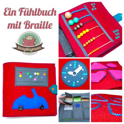 Braille Buch Kleinkind Spielbuch Fühlbuch Nähen Quiet book Tactile Book
