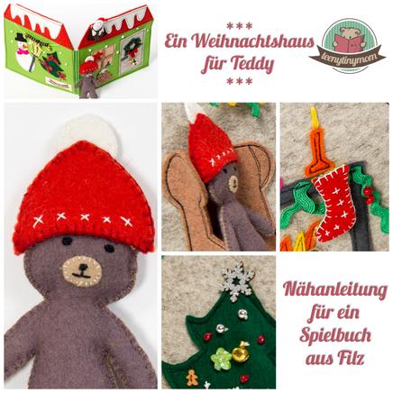 Puppenhaus Teddy Filz Spielbuch Weihnachten Quiet book Motorik Nähen