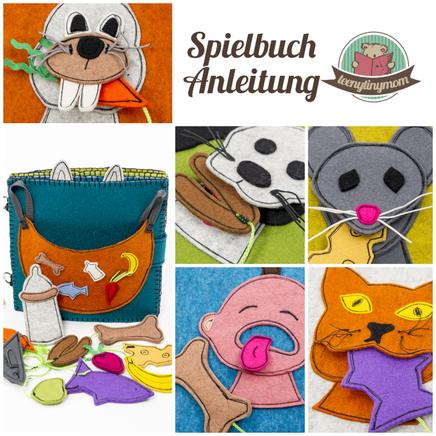 lustiges Spielbuch für Kleinkinder Stoffbuch Filzbuch Softbook Quiet book Activity book ein Spielbuch nähen Anleitung tutorial tactile book