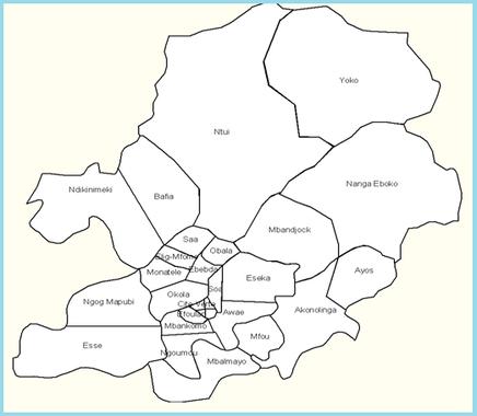 Carte des districts de santé du Centre en 1992