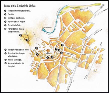 Mapa ruta de la ciudad de Jérica  de la Comunidad Valenciana en España.