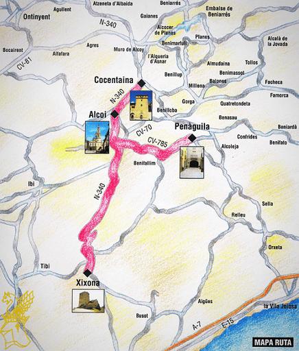 Mapa ruta de Cocentaina de la Comunidad Valenciana