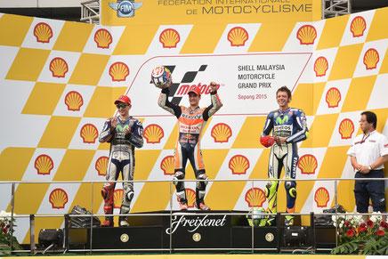 Das Podium in Sepang: Dani Pedrosa, Jorge Lorenzo und Valentino Rossi.