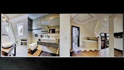 Eine Innenseite des Fotobuchs mit Bildern von Immobilienphoto.com