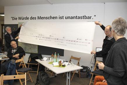 Vorstellung der Recherche auf großem Papier: Wolfgang Battermann (Petershagen), Heinrich Lustfeld (Rehburg-Loccum) und Ute Müller zeigen einen der zahlreichen Stammbäume, die entstanden sind.