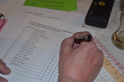 Aufmerksam wird der Stimmzettel begutachtet, ehe geheim abgestimmt wurde.