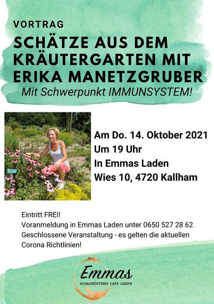 Alle Informationen zum aktuellen Vortrag von Erika Manetzgruber