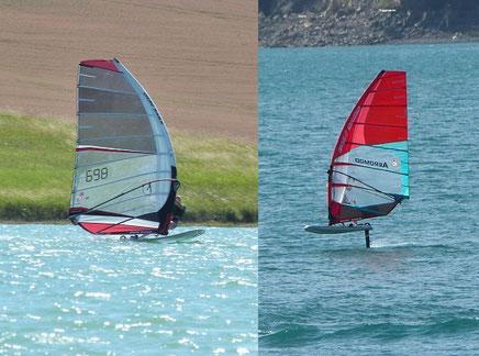 2 planches à voile en train de naviguer sur windfoil aeromod