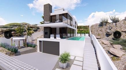 Model eines Wohnhauses mit 2 Etagen Pool und Garage unter dem Haus.