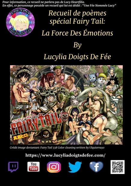 Couverture du recueil La Force Des Émotions réalisée par Lucylia Doigts De Fée avec Google Slide, image Ulquiorra90, manga fairy tail