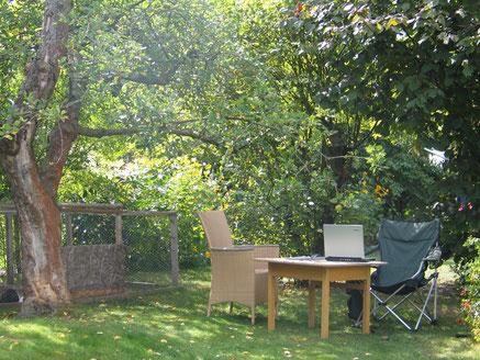 Mein Lieblings-Schreibplatz im Sommer, unterm Apfelbaum im Garten