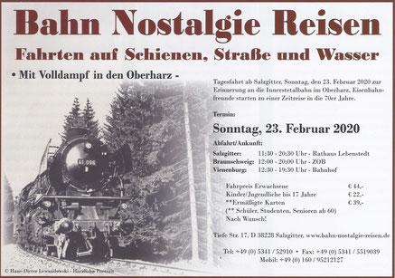 Bahn Nostalgie Reisen; Fahrten auf Schiene, Straße und Wasser; Mit Volldampf in den Oberharz