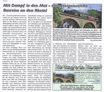 Mit Dampf in den Mai - eine ereignisreiche Busreise an den Rhein