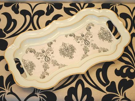 トレイ オシャレ トレー 37×21 ダマスク柄 クラシック お盆 M字横長 白 ホワイト