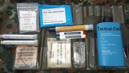 ABC-Selbsthilfesatz mit Übungsmaterial. Übrungsinjektoren, Übungsspürpapier und ÜB-Dekontaminationspulver