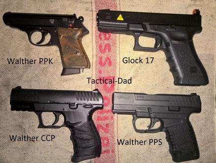 Größenvergleich der Pistolen: Walther PPK, Glock 17, Walther CCP und Walther PPS.