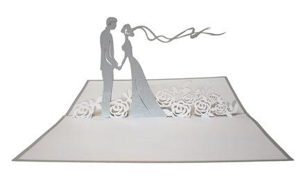 Faire part mariage argent blanc