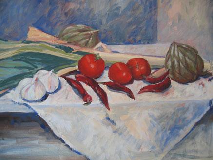 Gemüse, Eitempera, 50x70