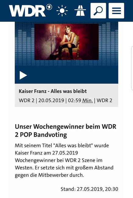 WDR 2 Pop - Szene im Westen, 27.05.2019 © Westdeutscher Rundfunk
