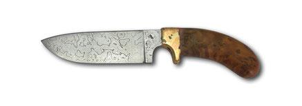 Jagdmesser Damast 1520 Lagen , Heft Thujawurzel