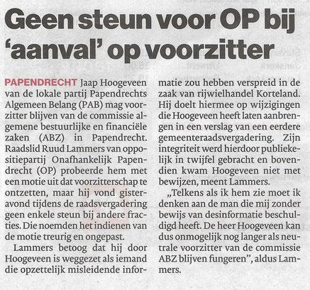 Algemeen Dagblad Drechtsteden 18 oktober 2019