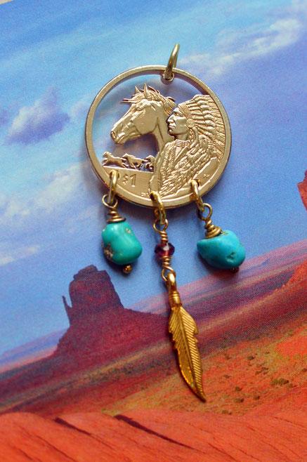 Münzsägewerk Katrin Thull | USA - Indianer mit Pferd und Steinen und Feder