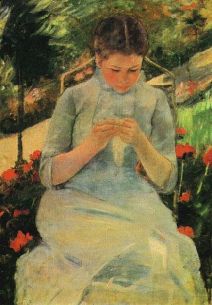 Peinture de Mary Cassat, Jeune Fille Cousant
