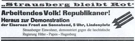 Strausberger Nachrichten vom 1. Februar 1933 (Archiv Horst Klein)