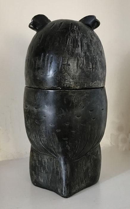 Folk art pot and cover modelled as an owl