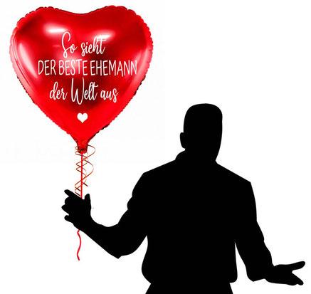 So sieht der beste Ehemann der Welt aus Ballon Luftballon Heliumballon Überraschung Mitbringsel Versand verschicken Ich liebe dich Jahrestag Buchstaben Geburtstag Jahrestag Hochzeitstag Geschenk Idee Ballonpost Ich Du läuft Heliumballons personalisiert