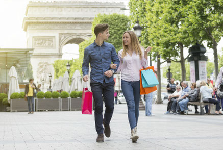 Young couple visiting Paris, France