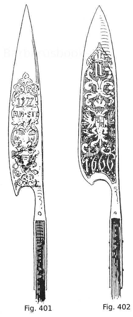 Fig. 401. Trabantencouse vom Hof Kaiser Rudolfs II., in Schwarzätzung geziert mit dem Namenszug des Kaisers, dem Wappen, der Devise ADSIT und der Jahreszahl 1577. Fig. 402. Trabantencouse vom Hof Kaiser Leopolds I., in Schwarzätzung geziert mit dem Namens