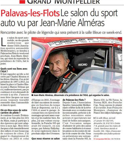 Article Midi Libre correspondant Palavas 26 01 2018