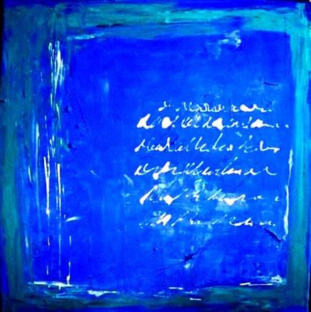 Acrylbild, acryl, idee, blau, schrift, geschenk, geschenkidee, bild, malen, malerei, kunst, geko, dekoration, wandbild, abstrakt