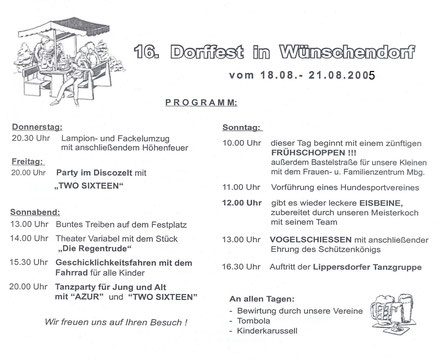 Bild: Wünschendorf Erzgebirge Dorffest 2005