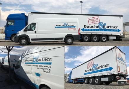 3 Bilder in 1 Bild: Van und Sattelzug mit Auflieger der Bouché & Partner GmbH sowie Vans der Groupo Bouché & Partner S.L. Spanien