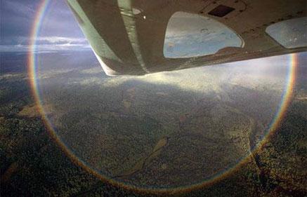 Foto de un arco iris de 360º desde un avión