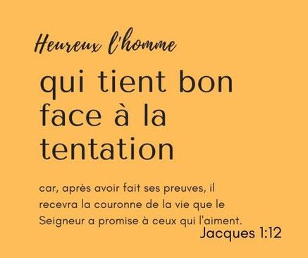 Maintenons notre vigilance, résistons à la tentation et à tenons-nous sur nos gardes. L'apôtre Paul nous avertit : que celui qui se croit debout prenne garde de ne pas tomber ! Jacques nous exhorte à tenir bon face à la tentation pour la couronne de vie.